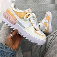 Nike Air Force 1 AF1 Flat Shoes Sports Sneakers Women Apricot Shoes