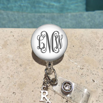 Monogram Badge Reel, Retractable Badge Holder, Personalized Badge Reels, Doctor Badge Reels, Pharmacy Badge Reels, RX, Pharmocology