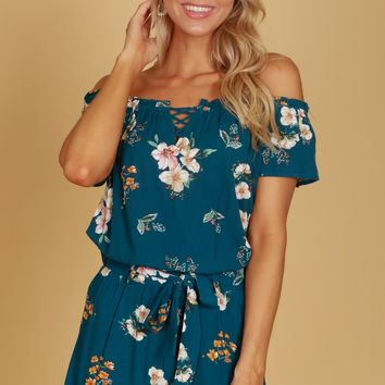 Floral Detailed Off The Shoulder Top Teal