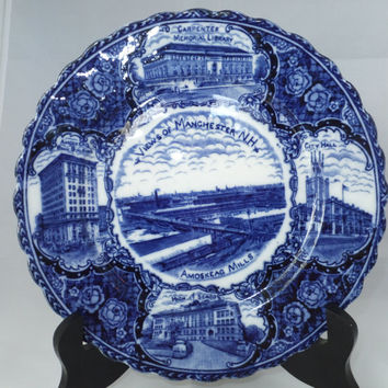 Antique Manchester New Hampshire Souvenir Plate -  English Staffordshire Flow Blue, British Anchor Potteries, Rare, Amoskeag Mills, NH Relic