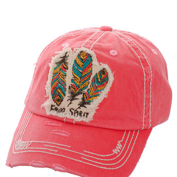 Free Spirit Feather Distressed Baseball Cap Hat Hot Pink, Embroidered On Torn Denim Decor