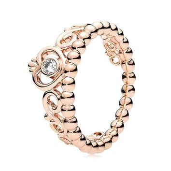 Cool 2018 Fashion size 5-10 Princess Queen Crown Engagement Ring with Clear CZ Authentic Rose Gold color Drop shippingAT_93_12