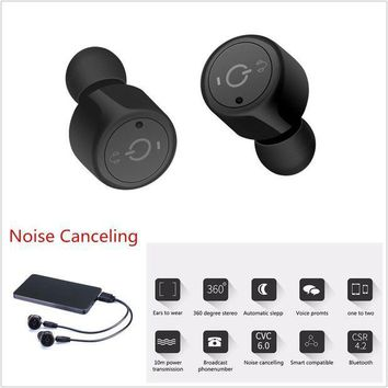 CREYRQ5 Wireless Bluetooth Headset Stereo Earbuds Handsfree Noise Canceling For Drivers