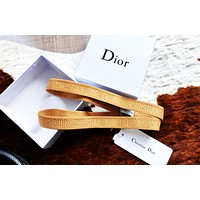 Dior 2019 new embossed letter ribbon headband Camel
