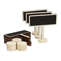 Fonder Mols 12pcs Mini Rectangular Chalkboard with Stand and Sturdy Thick Base, Best for Wedding Party Table Numbers Place Card Favor Tag Plant Marker (Rectangular-Shape)