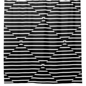 Black and White Stripes Geometric Shower Curtain