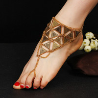 Bohemian Ethnic Foot Chain Maxi Ankle Bracelet Triange Anklet Toe Crochet Barefoot Sandals Beach Jewelry