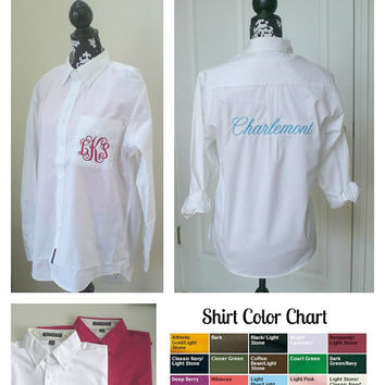 Pocket Monogram Wedding Shirt with Back Embroidery Wedding Party Gift Maid Of Honor, Bridesmaid, Mother of the Bride