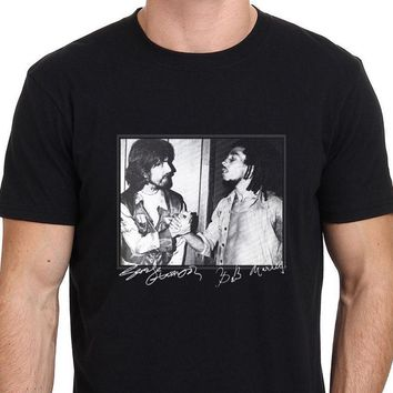 George Harrison and Bob Marley Rare Footage Men's T-Shirt Size S to 3XL Short Sleeves Cotton Fashion T Shirt Free Shipping