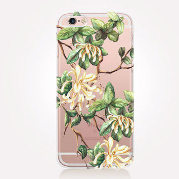 Transparent Floral iPhone Case - Transparent Case - Clear Case - Transparent iPhone 6 - Gel Case - Soft TPU Case - Samsung S7