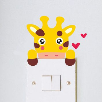 DIY Cute giraffe monkey cat lion bear zebra Switch Sticker kid bedroom Nursery Room Decor Light Wall Art Home Decoration