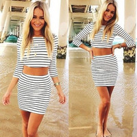 Stripe Crop Top and Skirt Two Piece Set - White