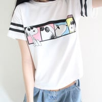 "White ""Snoopy"" Print Short Sleeve Shirt"
