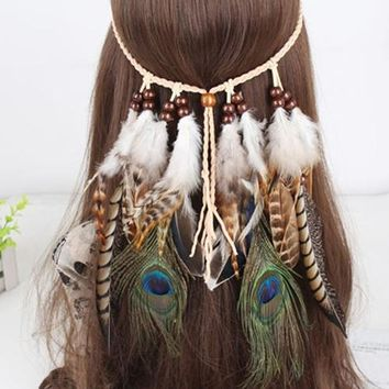 Peacock Feather Tassel Braided Rope Headband Native American Hair Rope