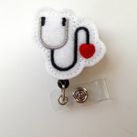 Stethoscope Heart - Badge Reel - Name Badge Holder - Cute Badge Reel - Pediatric Nurse Badge Holder - Nursing Badge Clip - Felt Badge