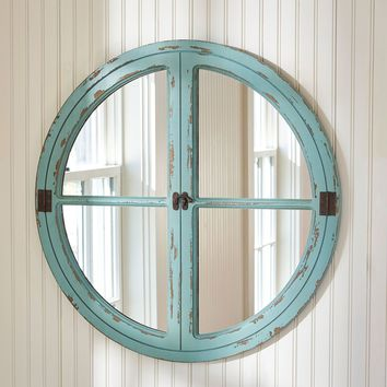 Distressed Coastal Style Round Window Wood Mirror Sea Green By PARK DESIGNS