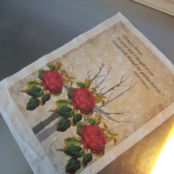 Roses quilt square sewing gift Alfred Tennyson quote art journal supply primitive fabric panel cotton quilt block wall art home decor