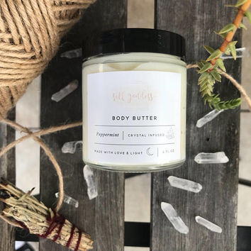 Crystal Infused Peppermint Body Butter   Peppermint Body Butter   Clear Crystal Quartz Infused Body Lotion Glass Jars 4 oz