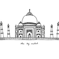 The Taj Mahal - 8x10 Illustration Print, Digital Art