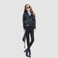 Black Notched  Zipper Collar  Buckled Waist Cropped Leather Jacket