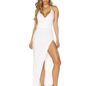 Roma 3654 Maxi Length Dress with Overlapping Scrunch & High Slit