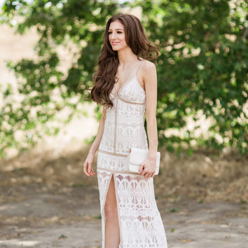 Demi Off White Lace Maxi Dress