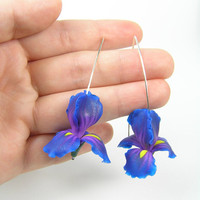Floral jewellery - Purple and blue iris - handmade polymer clay earrings - polymer clay jewelry