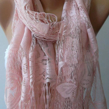 Pink - Elegance  Shawl / Scarf with Lacy Edge