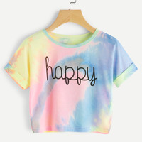 Water Color Letter Print Cuffed TeeFor Women-romwe