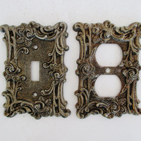 Vintage Light Switch and Outlet Covers Mid Century Brass Light Switch and Outlet Covers Matching Brass Light Switch and Outlet Covers