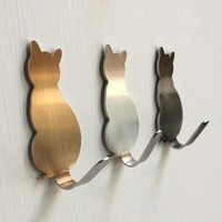 2Pcs Kitchen Wall Door Metal Hook Key Hanger Cat Tail Shaped Decorative Holder Clothes Storage Rack Tool BXT0214