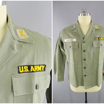 1950's Vintage / US Army M-1943 Utility Shirt / 13 Star Button / Herringbone Twill / HBT Blouse / Captain Haffner / Size XL / 44-46