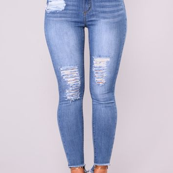 Carli Distress Jeans - Medium Blue
