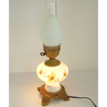 Vintage hurricane lamp with ornate metal base - White glass hurricane lamp with yellow flowers - Cottage chic lighting decor night light
