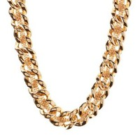 Gold Mixed Chain Collar Necklace by Charlotte Russe