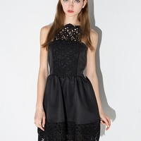 Black Lace Apron Dress