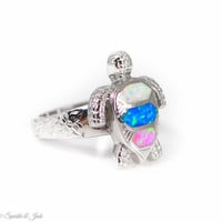 Multi Colored Opal Inlay Turtle Ring with Floral Band