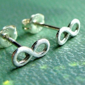 Infinity Earrings Stud Post Earrings in Sterling Silver