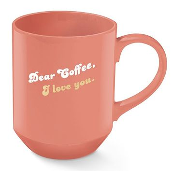 Dear Coffee I Love You Ceramic Mug in Rustic Orange