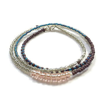 Delicate Seed Bead Boho Chic Bracelet, Multi Wrap Bracelet, Sterling Silver Closure. Gift for Her