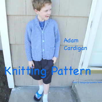 Adam Cardigan Sweater Knitting Pattern, Boys & Girls, Shawl Collar, Size 1 2 4 6 8 10 12, Chunky Yarn