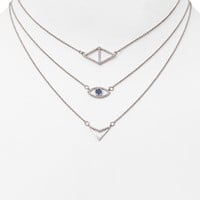 "AQUA Pavé Angela Necklaces 13.5-17.5"", Set of 3 