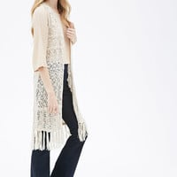 Open-Knit Tasseled Cardigan