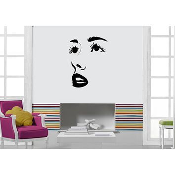 Vinyl Decal Wall Sticker Female Face Wide Open Eyes and Lips Unique Gift (M575)