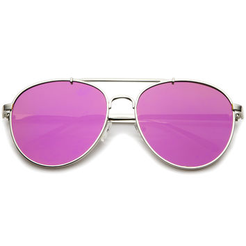 Large Flat Lens Mirrored Lens Aviator Sunglasses A257