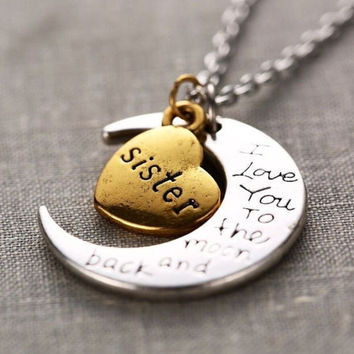 Retro Hand stamped I Love You to the Moon and Back Charm Necklace Silver Gold SISTER +Gift Box