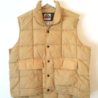 Vintage 70s MILLER Goose Down Vest Made In the USA Size Large