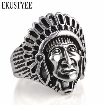 Exaggeration Men Indian Face Rings Steampunk Biker Bague Antique Silver Tibet Tone Aneis Male Jewelry free shipping
