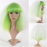 Color Contrast Medium Length Cosplay Wig with Full Bangs (White & Green)