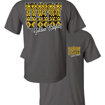 buy popular 7c4e1 ac4e6 Southern Couture USM Golden Eagles Aztec Tribal University of Southern  Mississippi Girlie Bright T Shirt